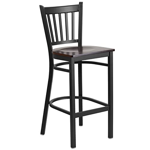 Flash Furniture HERCULES Series Black Vertical Back Metal Restaurant Barstool – Walnut Wood Seat