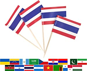JBCD 100 Pcs Thailand Flag Toothpicks Thai Flags Cupcake Toppers Decorations, Cocktail Toothpick Flag Cake Topper Picks Mini Small Flag Cupcake Pick Sticks
