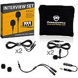 Microfones de lapela profissional definidos para dupla entrevista - Microfone de lapela dupla - Conjunto de 2 microfones de l