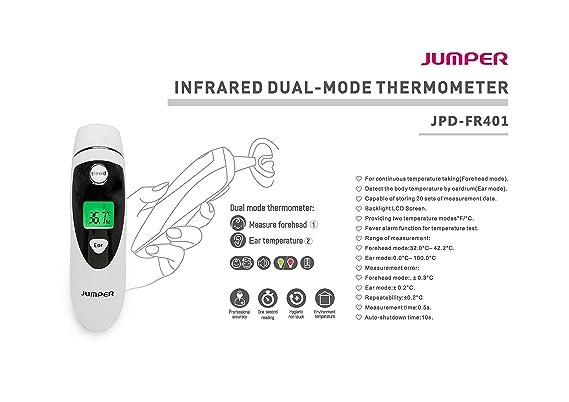 Jumper Medical - JPD-FR401 Termómetro digital infrarrojo IR modo dual para frente-oído, bebé niños y adultos pantalla LCD de dos colores con luz de fondo ...