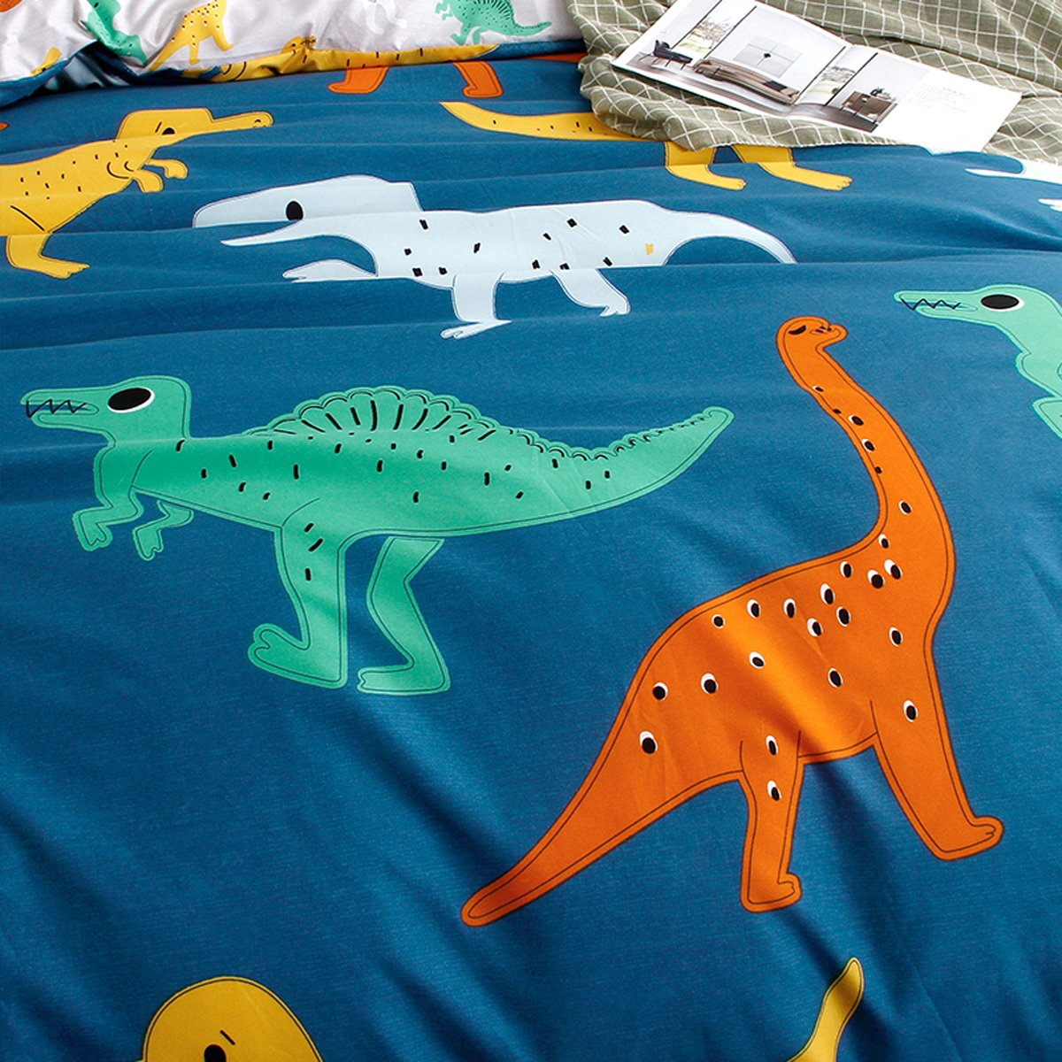Hxiang 3-Pieces dinosaur kid's bedding set Bedding 100% Microfiber boy's Bedding Set Blue Duvet Cover Set (Full, Blue)
