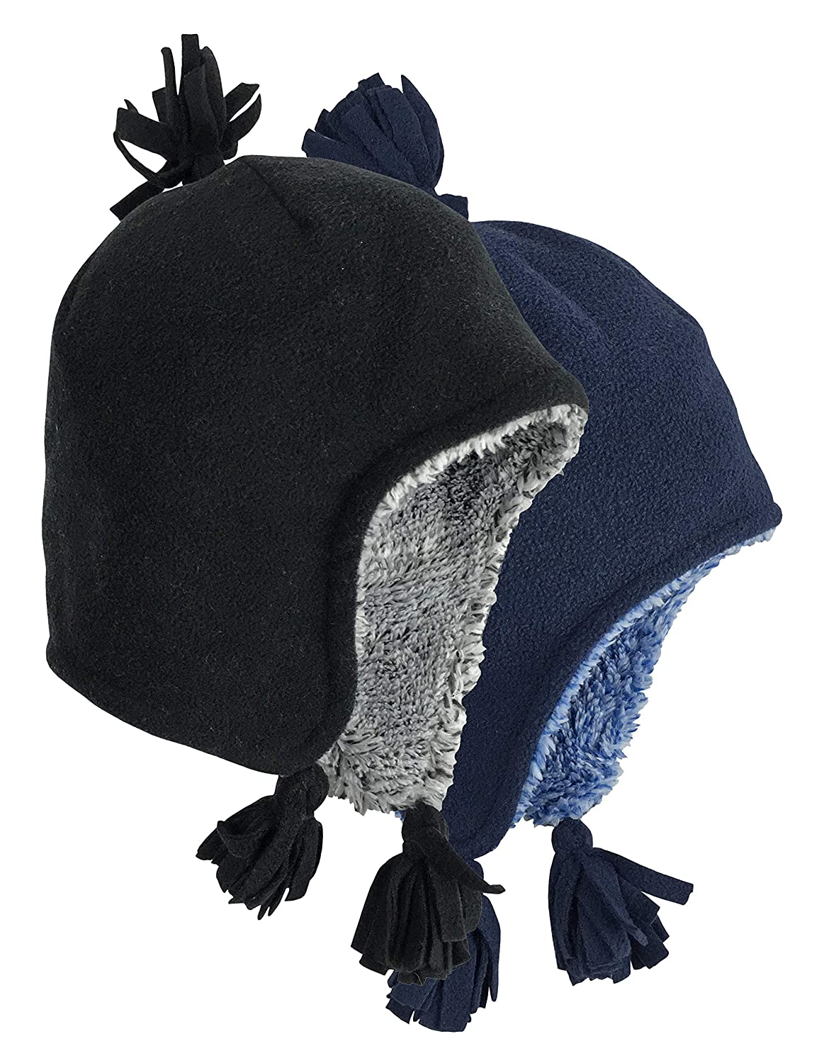 N'Ice Caps Little Boys and Baby Sherpa Lined Micro Fleece Winter Hats - 2 Pack