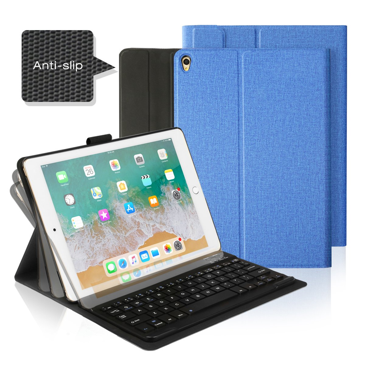 AntArt 10.5 Leather case + Wireless Bluetooth American English ABS Brushed Keyboard for iOS, Android Windows