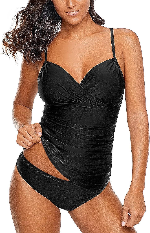 LookbookStore Women's Ruched Wrap Front Tankini Set 2 Piece Swimsuit Beachwear