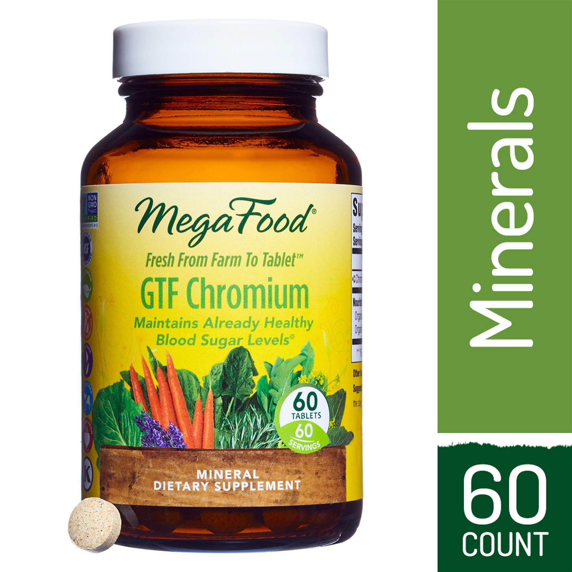 MegaFood - GTF Chromium, Helps Maintain Healthy Blood Sugar Levels and Supports Glucose Metabolism with Organic Herbs, Vegetarian, Gluten-Free, Non-GMO, 60 Tablets (FFP)