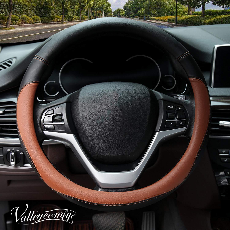 Valleycomfy Microfiber Leather Steering Wheel Covers Universal 15 inch (Brown)