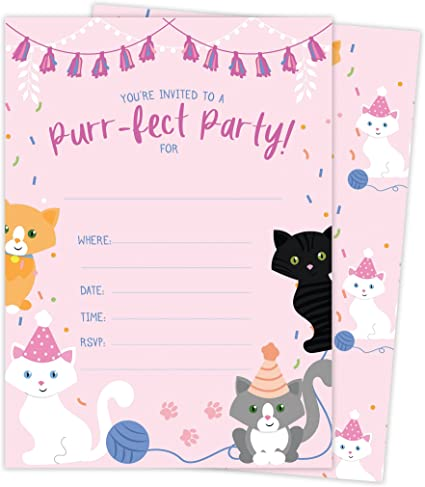 Amazon.com: Gato gatito Kitty Happy tarjetas de invitaciones ...
