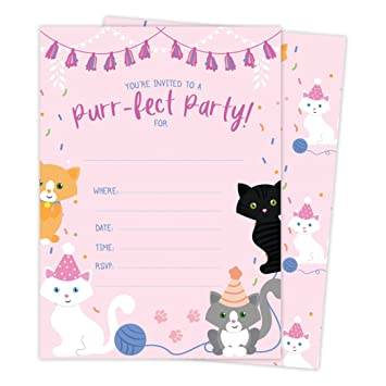Cat Kitten Kitty Happy Birthday Invitations Invite Cards 25 Count With Envelopes Seal