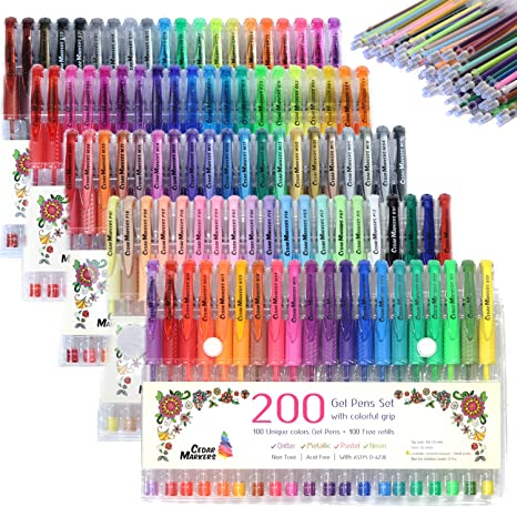 Glittery Colors Package of 10 1 X Pens /& Pencils Grips