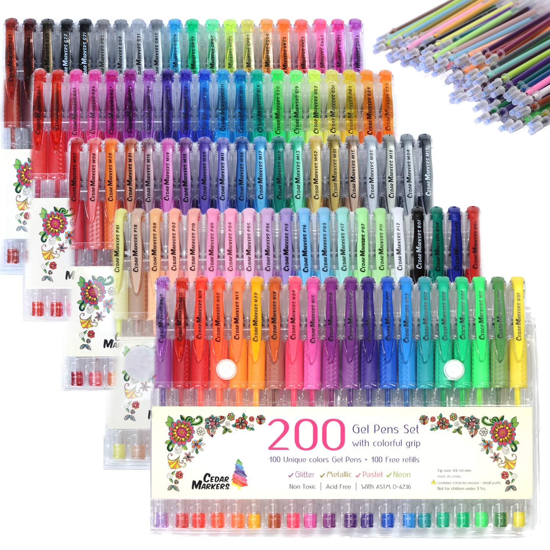Cedar Markers Gel Pens. 200 Set 100 Pens Plus 100 Refills. Color Pens with Grip. Neon, Glitter, Metallic, Pastel Colors No Duplicates. Drawing Pens for Bullet Journal. by Cedar Markers