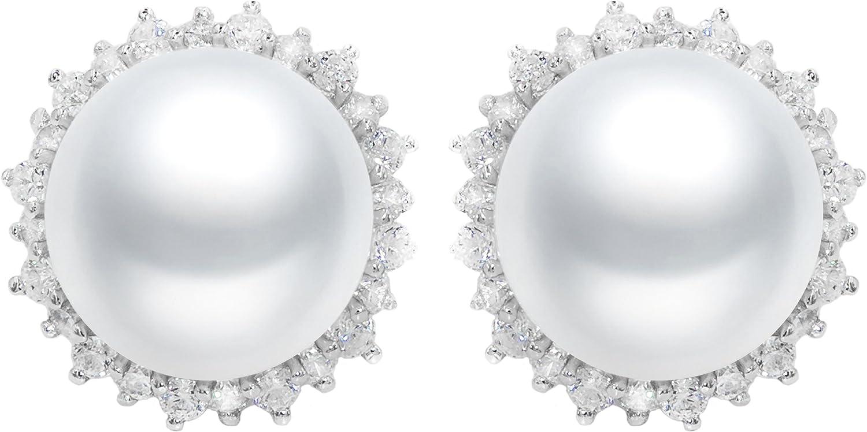 Pendientes de Perlas Cultivadas de Agua Dulce Blancas tipo Botón de 8-9 mm rodeados de 18 circonitas o de 11-12 mm rodeados de 25 circonitas - Plata de Ley de 925 Milésimas