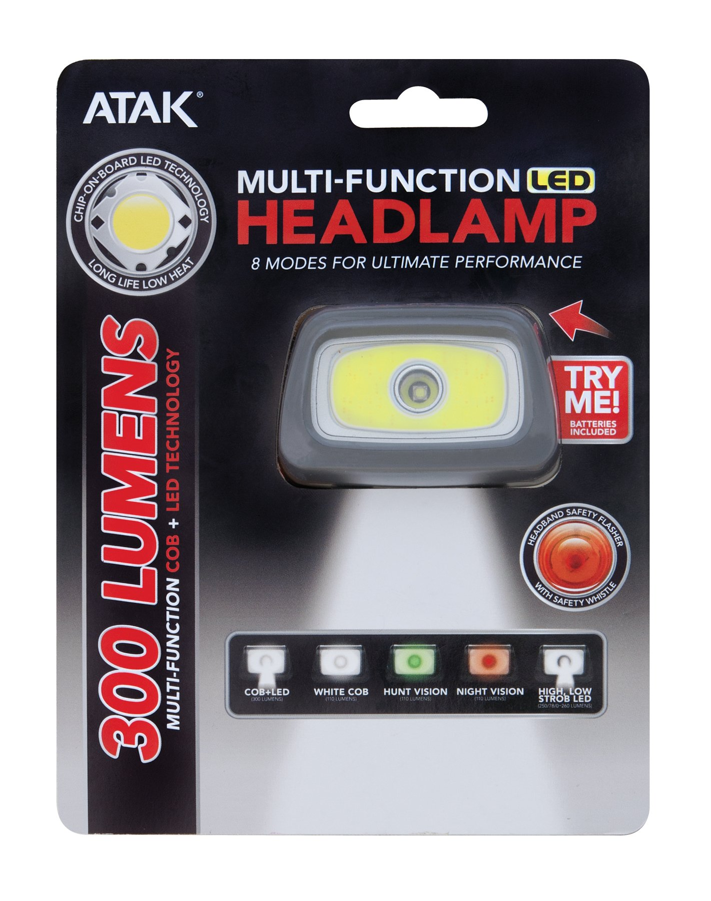 ATAK Model 372-300 Lumen Multi-Function COB LED Headlamp (High, Low, Green, Red and Strobe Settings) by Performance Tool (Image #1)