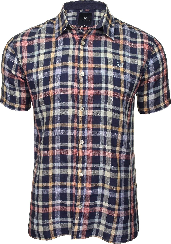 Crew Clothing - Camisa de Cuadros de Lino para Hombre, diseño de Cuadros Glenburn Linen Check, Manga Corta Azul Heritage Navy/Limón/Rojo/Azul M: Amazon.es: Ropa y accesorios