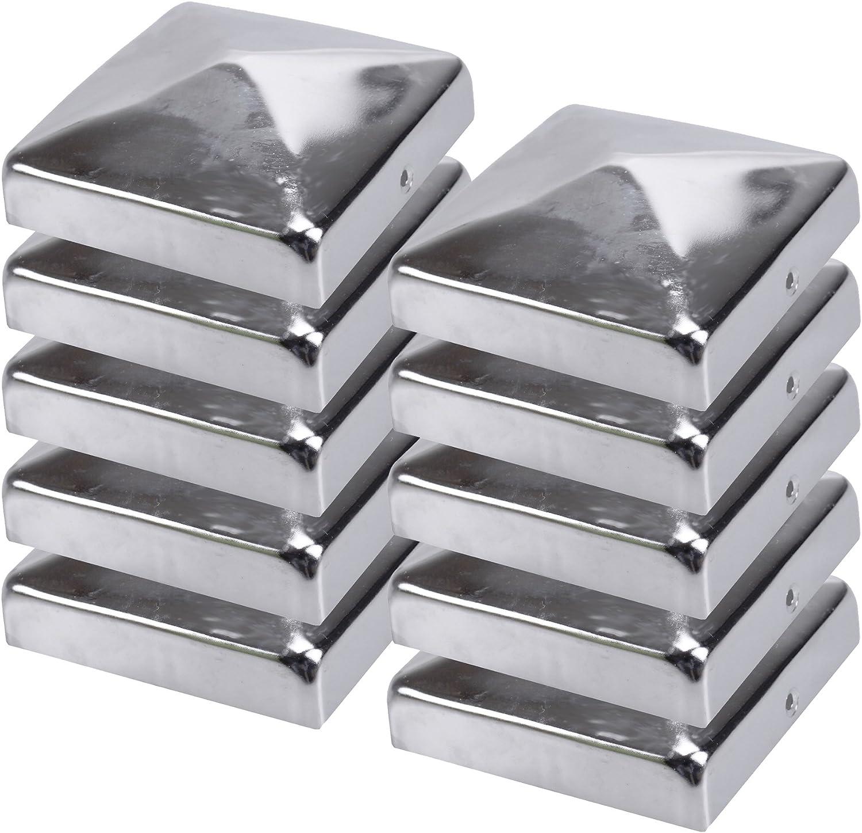 10x Poteau Cl/ôture Capuchon de pyramide en acier inoxydable 71 x 71 mm