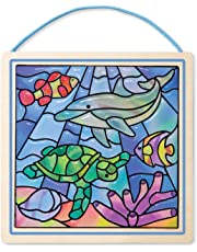 Melissa & Doug Stained Glass Made Easy Activity Kit, Ocean (Arts and Crafts, Develops Problem Solving Skills, 100+ Stickers)