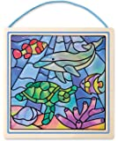 Melissa & Doug Peel and Press Stained Glass Sticker Set: Undersea Fantasy - 100+ Stickers, Frame