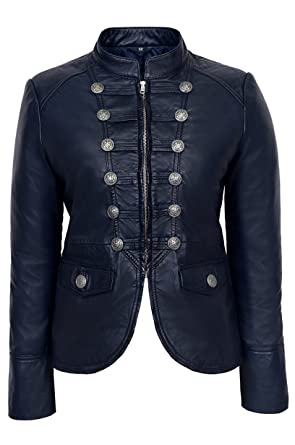 Victory Ladies Navy Blue Military Parade Style Soft Real Nappa
