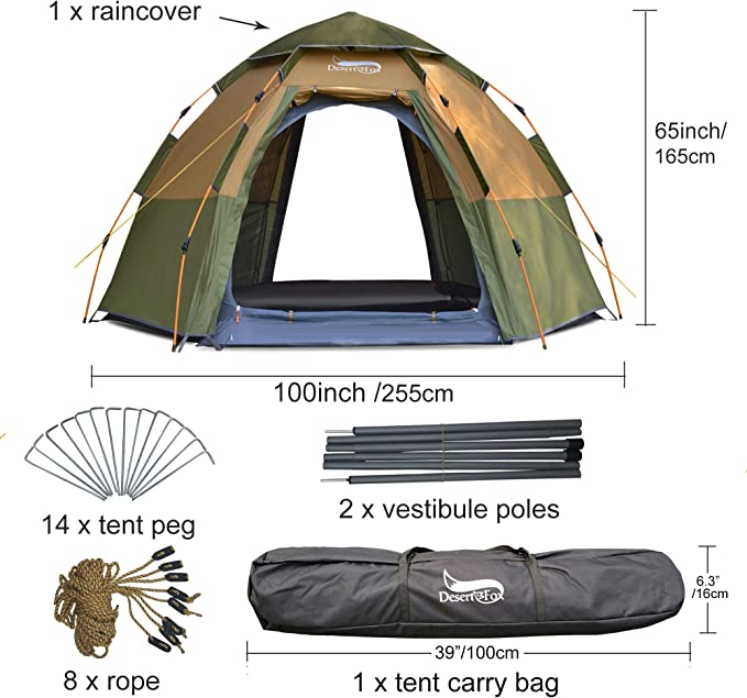 DESERT & FOX Pop up Dome Tent, 3 4 Person Outdoor Automatic Instant Setup Family Tent, 4 Season Waterproof Double Layer for Hiking, Camping,
