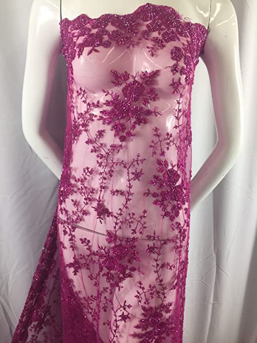 Fuschia Design Beaded Mesh Lace Fabric Bridal Wedding Sold By Yard clothing