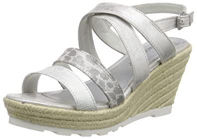 Marco Tozzi 28709, Sandales Bout Ouvert FemmeArgentSilber (Silver Comb 948), 39