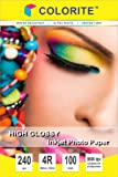 """Colorite 240 Gsm 4R (4""""x6"""") /100 Sheets Inkjet High Glossy Photo Paper"""