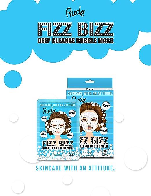 (6 Pack) RUDE Fizz Bizz Deep Cleanse Bubble Mask Natural Face Cleansing Gel, 2.19 fl.oz (Brightening & Moisturizing) - Tamarind, Honey, Carrot