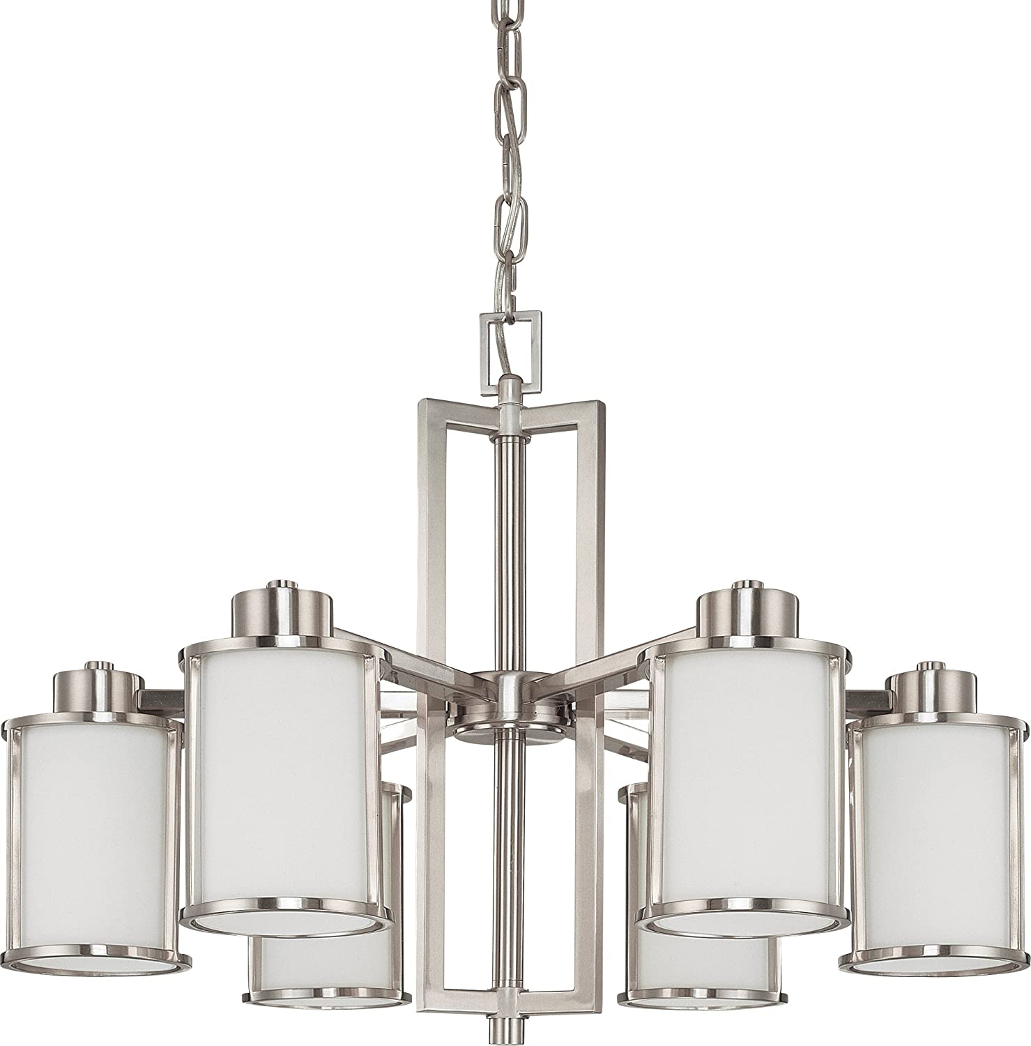 Nuvo Lighting 60/3806 Odeon 6-Light Chandelier with Convertible Arms Up or Down and White Satin Glass Brushed Nickel - - Amazon.com  sc 1 st  Amazon.com : brushed nickel chandelier lighting - azcodes.com
