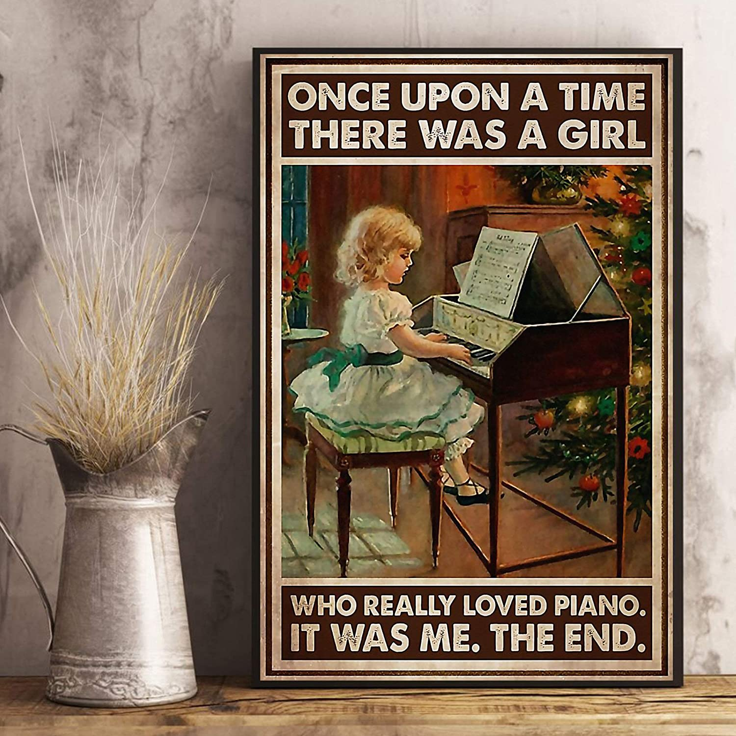 VinMea Metal Tin Sign,Piano Once Upon A Time Aluminum Sign Wall Art Decor Metal Sign,Public Sign,Decoration Sign 8x12 Inches