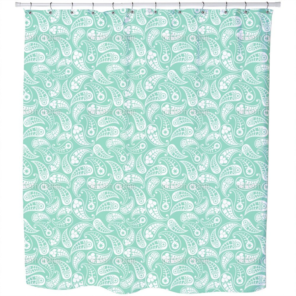 Uneekee Naturally Paisley Shower Curtain: Large Waterproof Luxurious Bathroom Design Woven Fabric