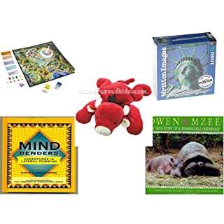 Children's Fun & Educational Gift Bundle - Ages 6-12 [5 Piece] - Includes: Game - Toy - Plush - Hardcover Book - Paperback Book - No. dbund-6-12-29994
