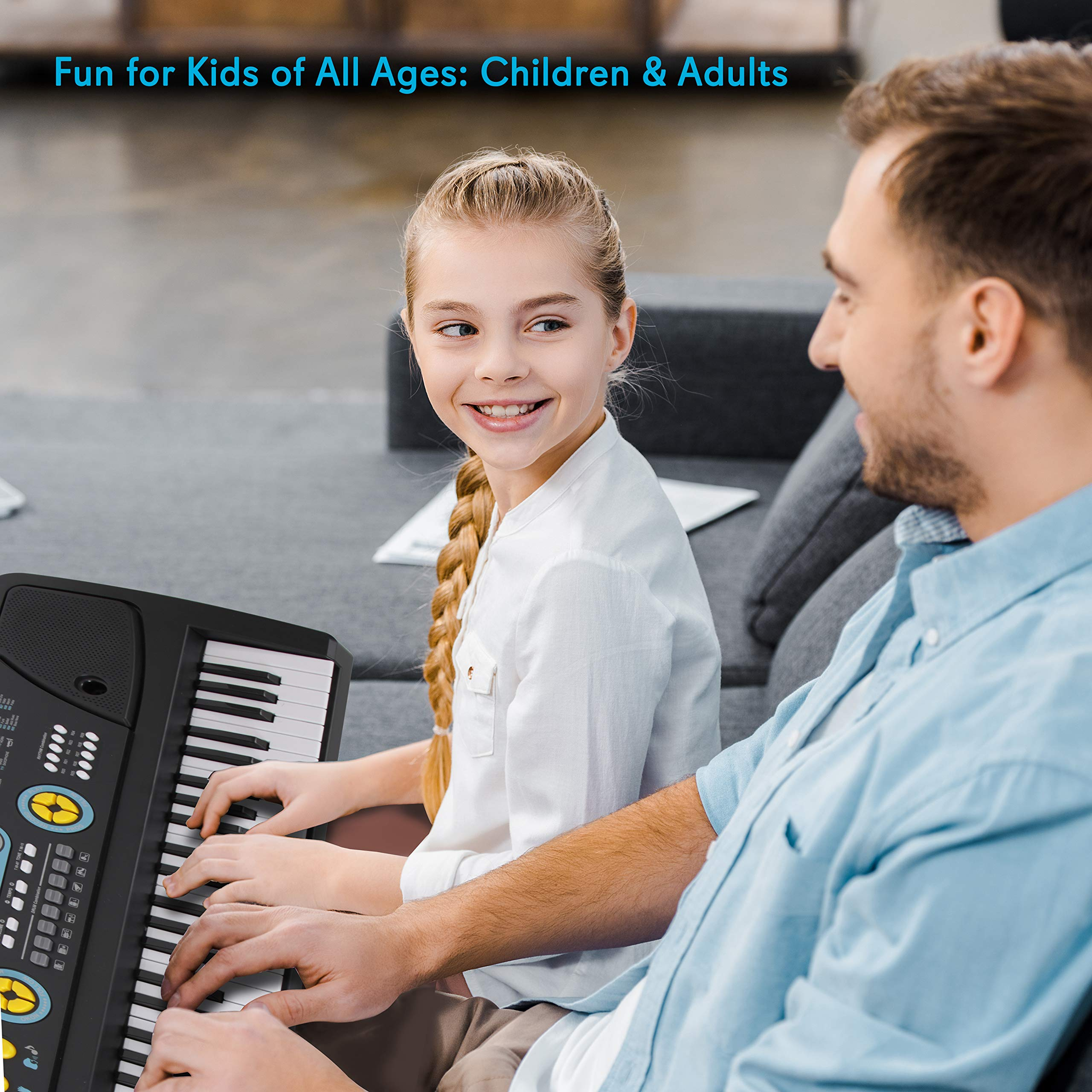 Digital Piano Kids Keyboard - Portable 61 Key Piano Keyboard, Learning Keyboard for Beginners w/ Drum Pad, Recording, Microphone, Music Sheet Stand, Built-in Speaker - Pyle by Directly Cheap (Image #5)