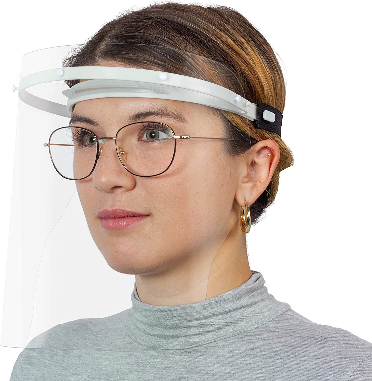 Visera protectora ajustable y reutilizable para portadores de gafas como protección contra salpicaduras y polvo