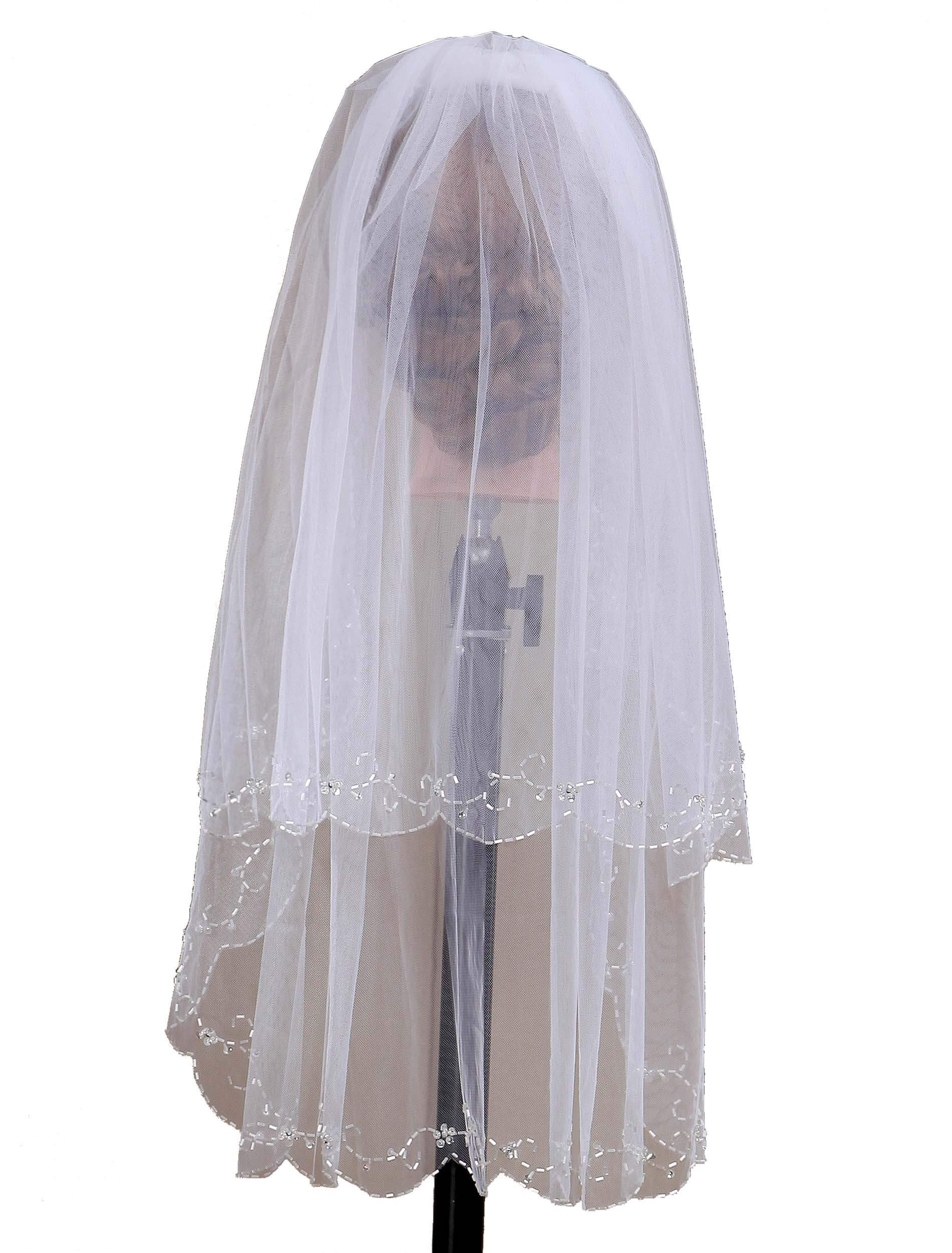 Dressblee 2T Short Sequin Pearl Edge Crystals Beaded Bling Wedding Bridal Veil-ivory6