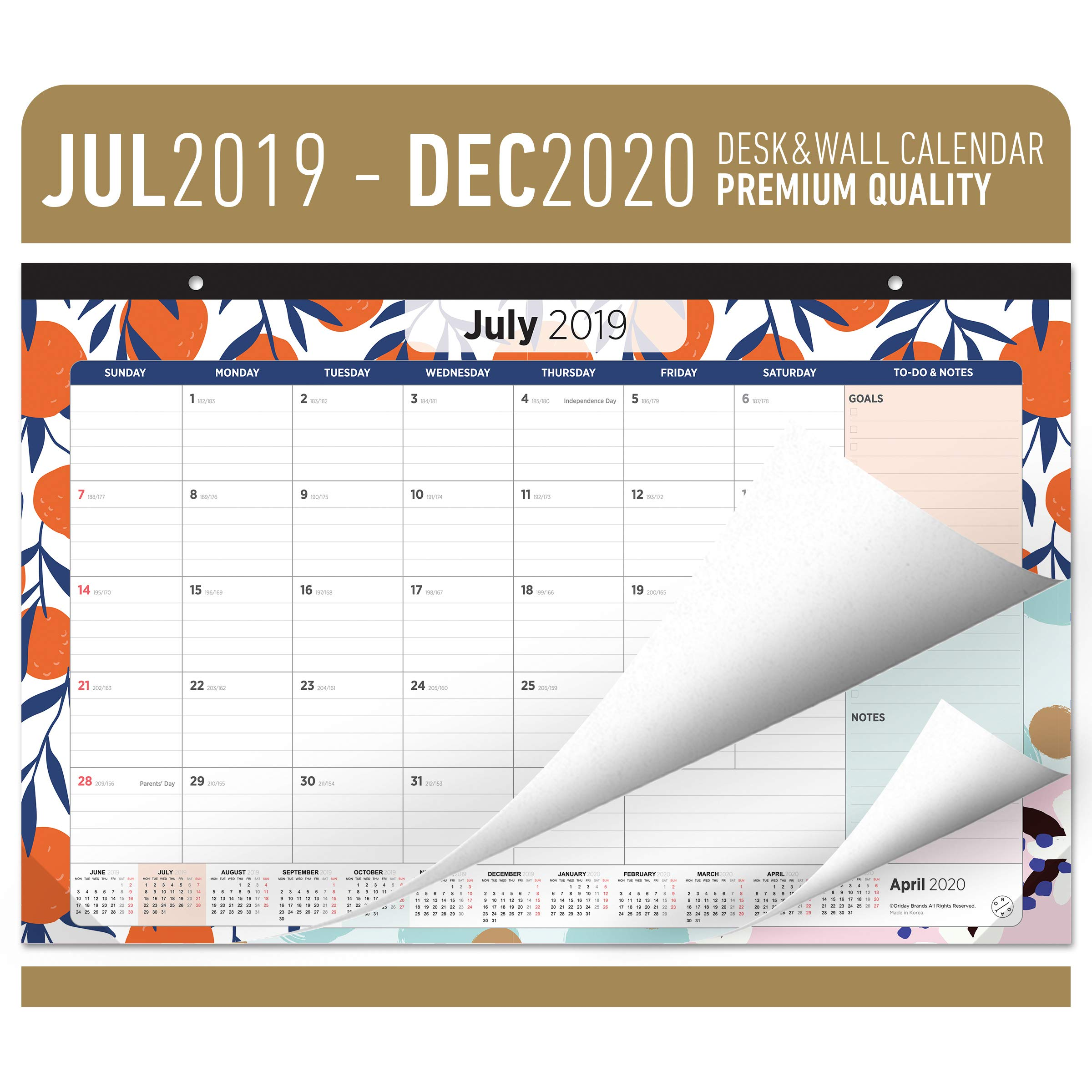 Oriday Academic Desk Calendar 2019-2020 - Monthly Wall & Desk Pad Calendar - Daily Planner & to-Do List Notepad (18 Months - July 2019 Through December 2020, 17'' x 11'') by Oriday