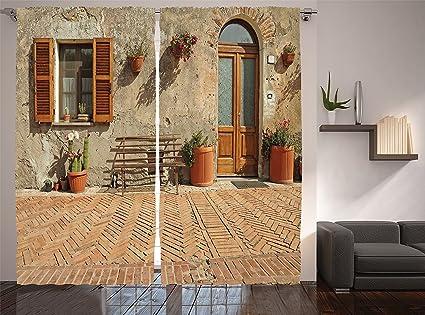 Amazon Com Ambesonne Tuscan Decor Collection Medieval Facade