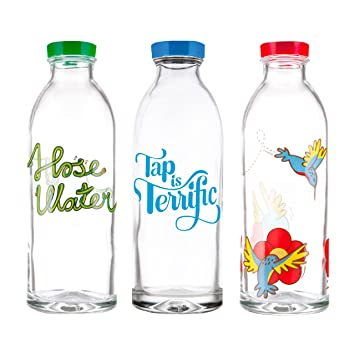 Amazoncom Gift Pack 3 Classic Design Reusable Glass Water