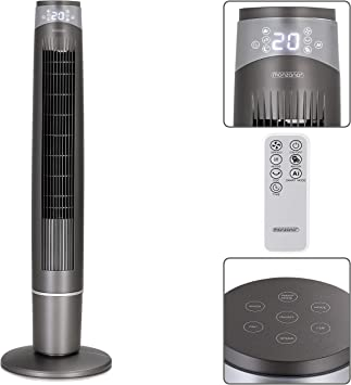 Monzana Ventilador oscilante a 90° 55V ionizador con mando a ...