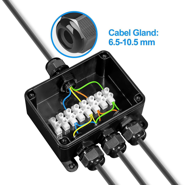 Caja de Conexiones, Doris Direct IP66 Impermeable cajas de conexión de cables con 3 Vías subterráneo cajas conexiones electricas para Cable de Diámetro Ø9mm ...