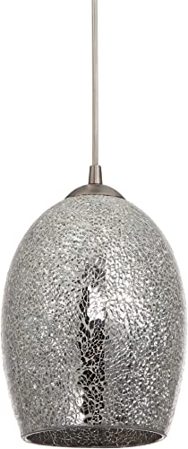 Kira Home Solaris 10 Modern Pendant Light Mosaic Glass Shade, Adjustable Height, Brushed Nickel Finish