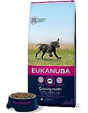 Eukanuba - Croquettes pour chiot de Grande Race - 100% complet et équilibré ; Sans arôme artificiel ajouté, colorant artificiel ajouté ; Riche en poulet - calcium fibres FOS DHA – sac fermable de 15kg
