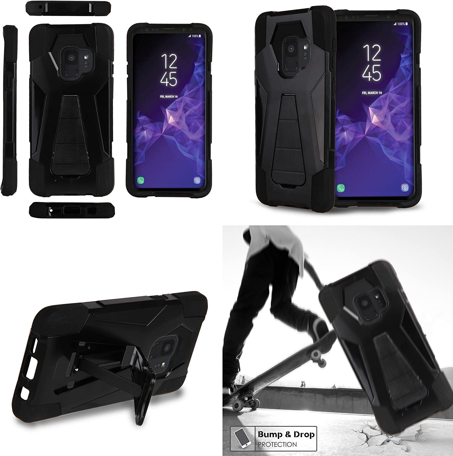 USB Type C 4 Foot Impact Resilient Bundle: Dual Layer Vintage Mexico Cable 90 Degree // Right Angle Samsung Galaxy S9 Protective Kickstand Case , Atom Cloth USB-C