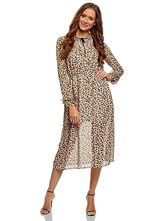 bb2f2bc22169 oodji Ultra Femme Robe Mi-Longue avec Liens à Nouer  Amazon.fr  Vêtements  et accessoires
