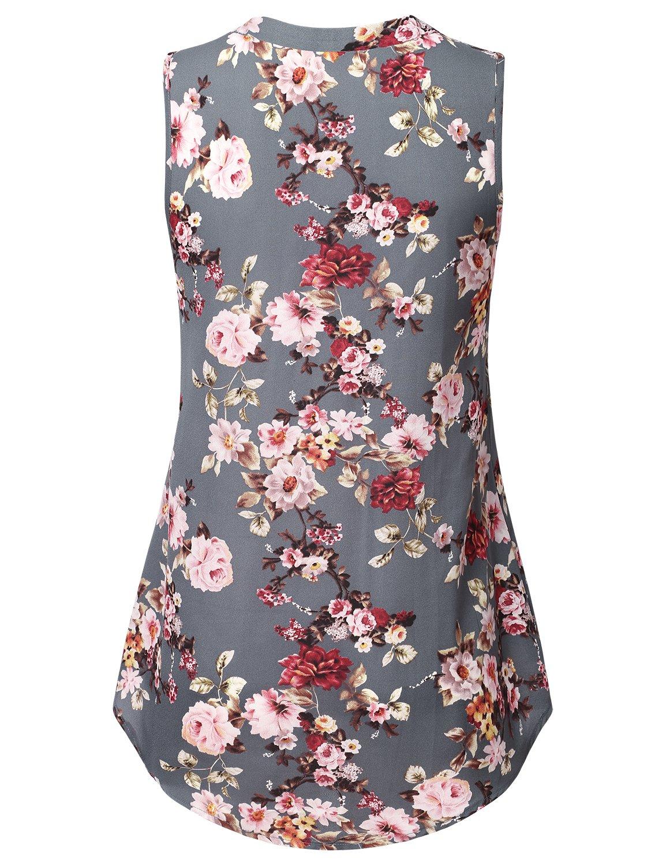 Lyking Women's Henley V Neck Sleeveless Curved Hem Chiffon Blouse Shirts Tank Tops(XXL,Floral Grey) by Lyking (Image #2)