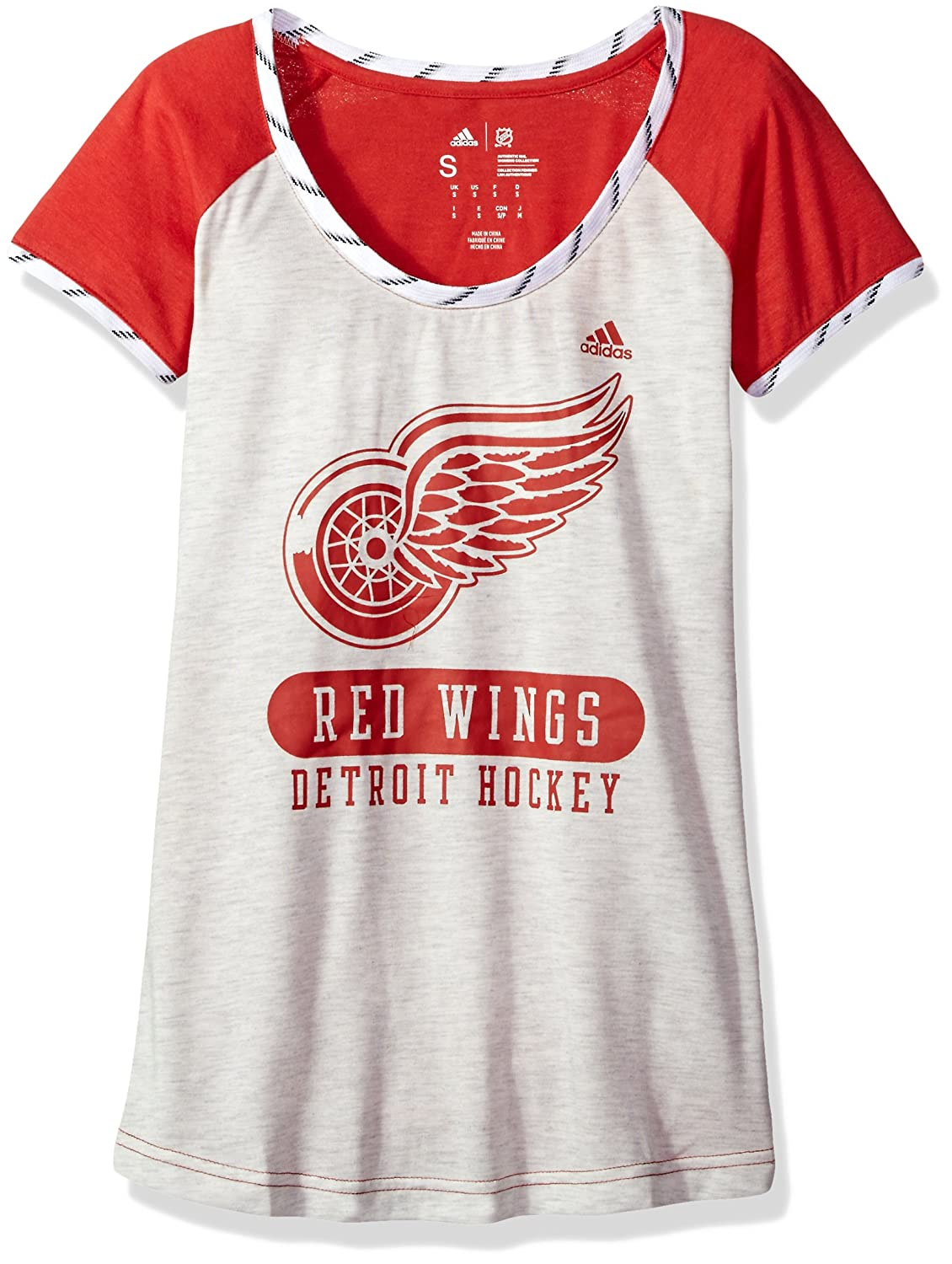 Adidas NHLレディーススケートレースS/S Tee B074TRJWZV X-Large|White Heathered|Detroit Red Wings White Heathered X-Large