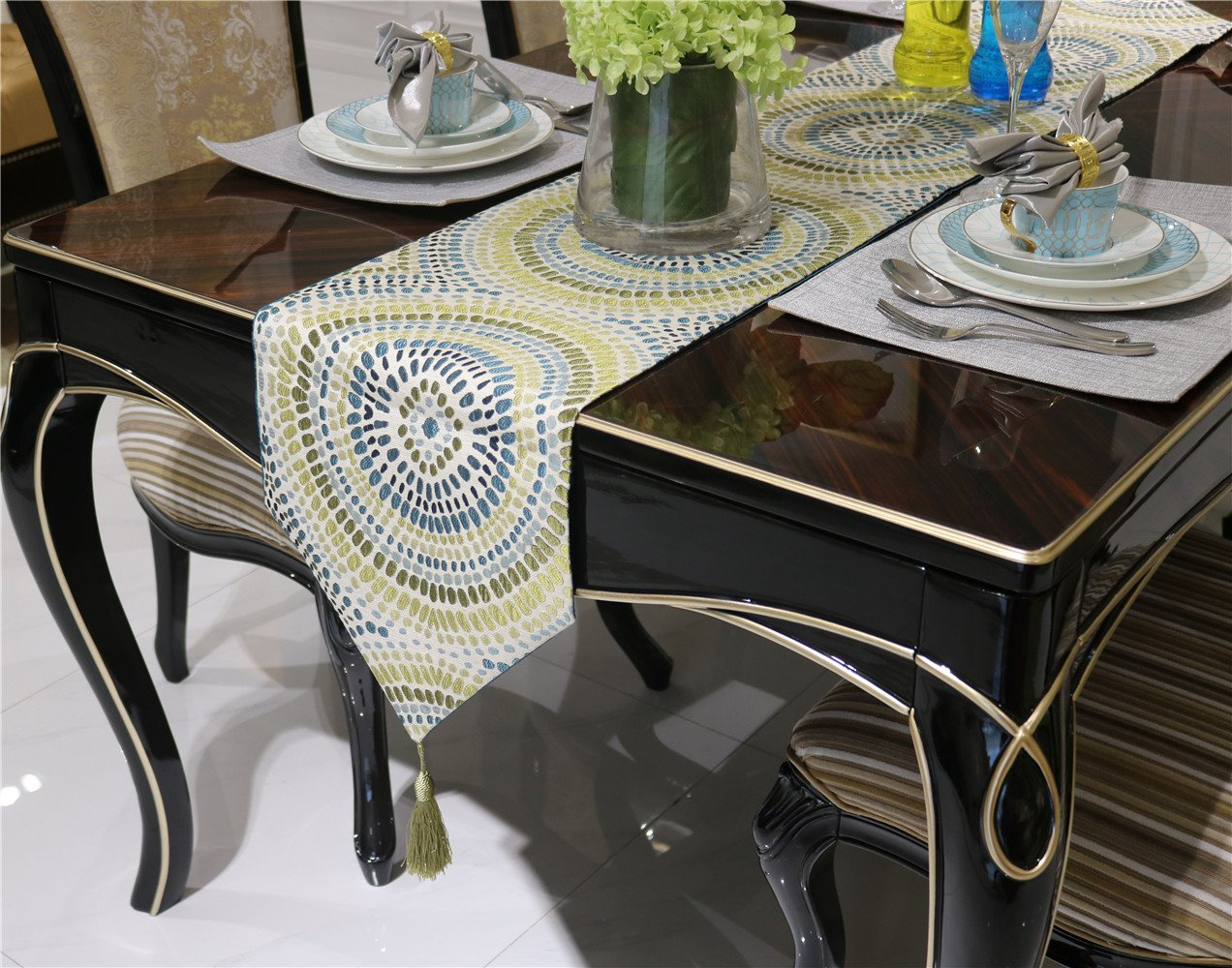 NikiCains Polyster Damask Dot Table Runner Hotel Bed Coffee Dining Table Linens Runners Cloth 13''x 96'' Yellow 13''x 96'' …