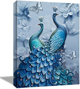 Looife Canvas Wall Art with Peacock Couples Picture - 20x30 Inch Blue Peacock Tail Feather with Flowers Painting Artwork Giclee Prints Wall Decor for Living Room, Bedroom and Bathroom