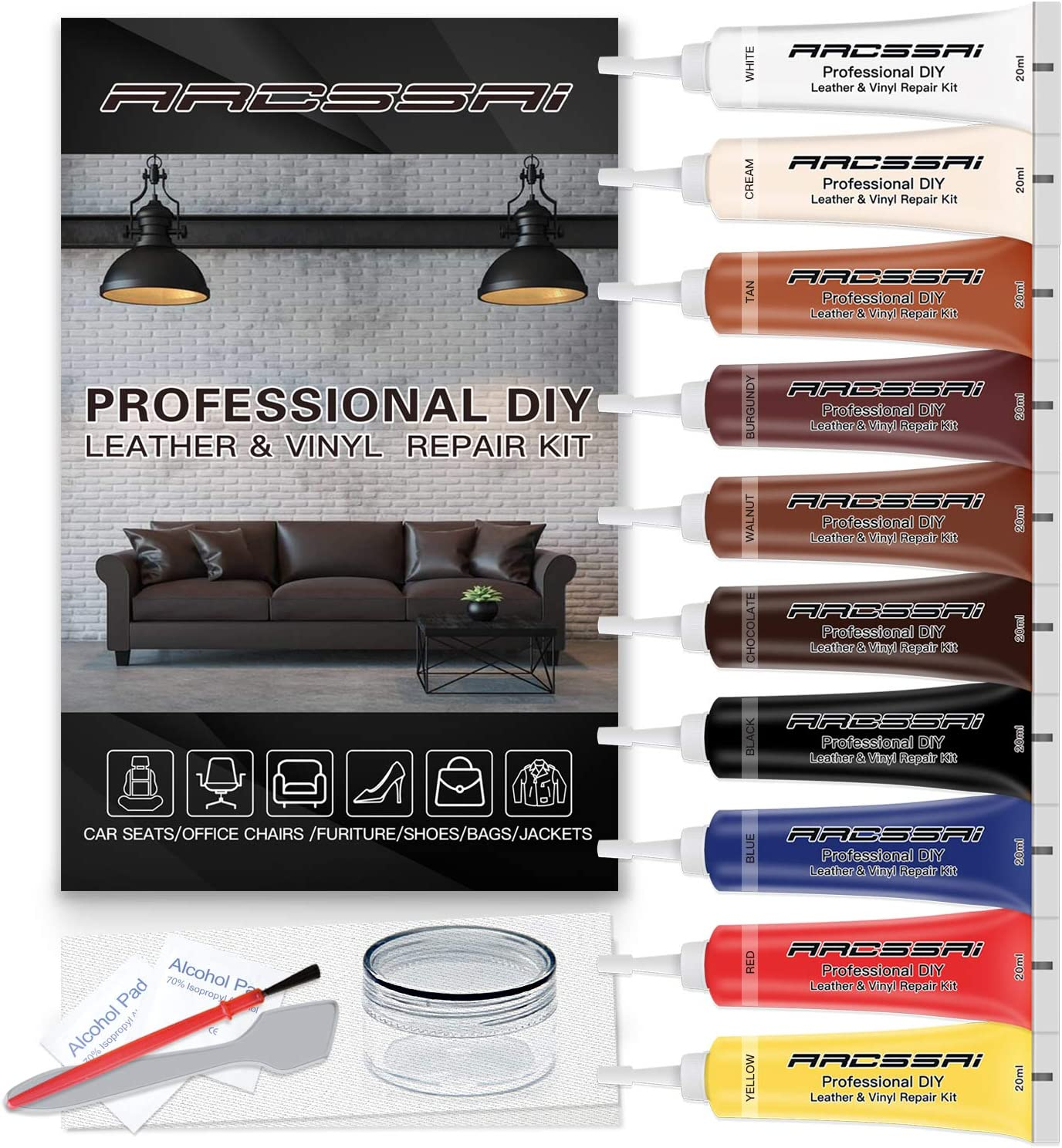 Amazon Com Vinyl And Leather Repair Kit For Couches P Leather Leather Repair Paint Gel For Sofa Jacket Furniture Car Seats Purse Perfect Color Matching For Genuine Bonded Pu Faux Leather Arts