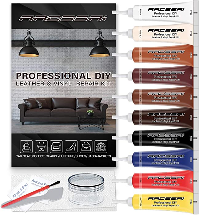 Vinyl and Leather Repair Kit for Couches | P Leather Leather Repair Paint Gel for Sofa, Jacket, Furniture, Car Seats, Purse. Perfect Color Matching for Genuine, Bonded, PU, Faux Leather