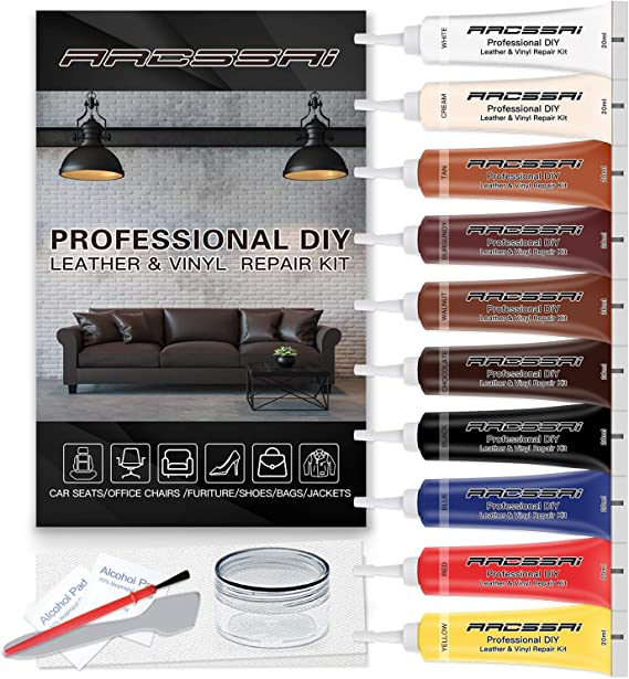 Vinyl and Leather Repair Kit Restorer of Your Furniture, Car Seats, Sofa, Jacket, Purse, Belt, Shoes | Genuine, Italian, Bonded, Bycast, PU,