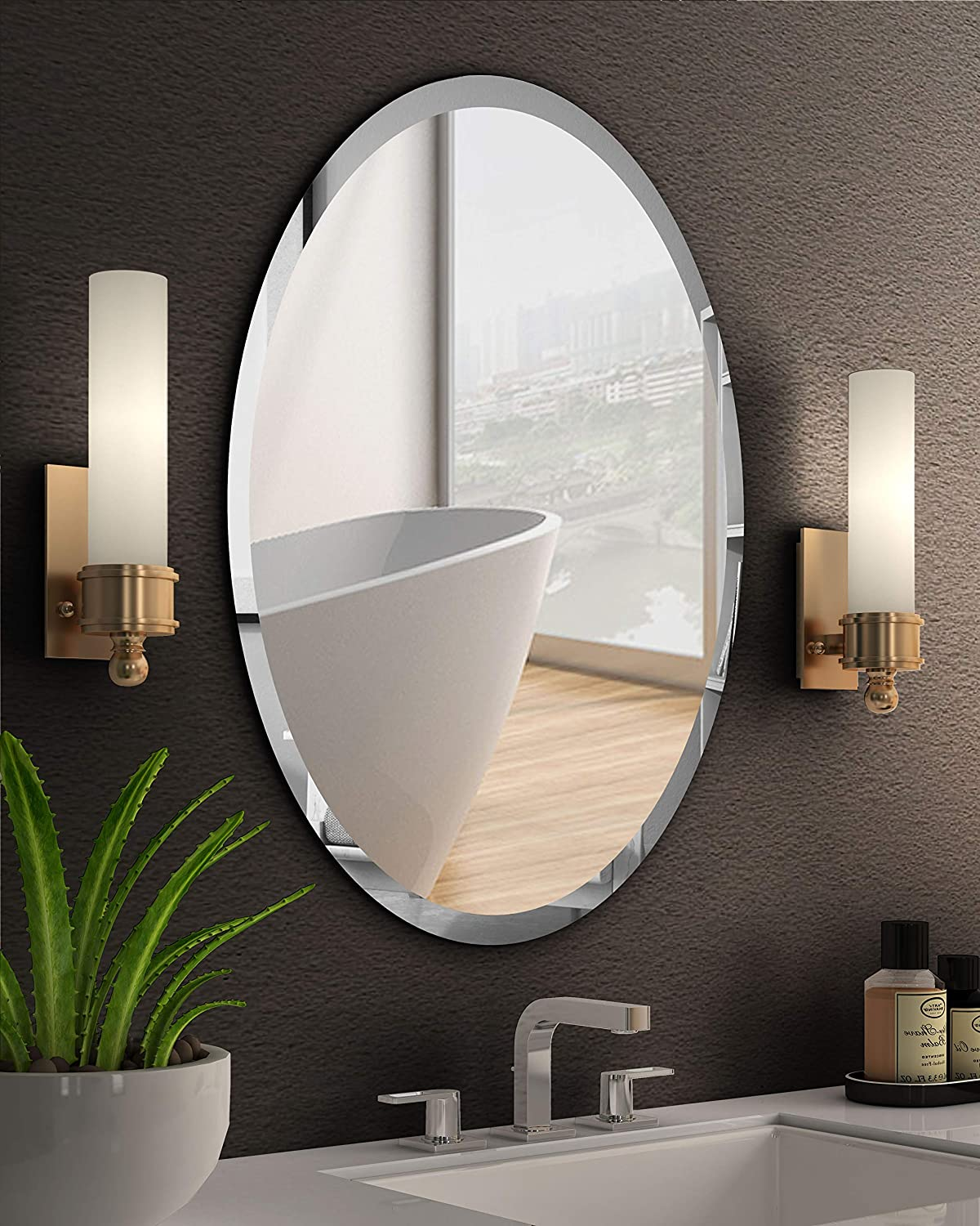 Amazon Com Kohros Oval Beveled Polished Frameless Wall Mirror For Bathroom Vanity Bedroom 20 W X 28 H Oval Home Kitchen